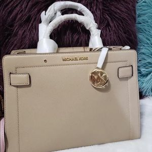 Michael Kors Rayne Medium Satchel Bisque Leather
